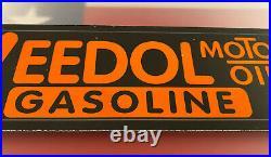 Vintage Veedol Gasoline Porcelain Gas Station Sign Pump Plate Motor Oil USA