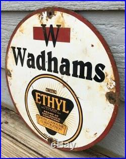 Vintage Wadhams With Ethyl Gasoline Porcelain Gas Pump Sign Dated 1927