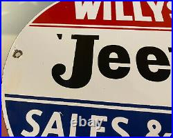 Vintage Willys Jeep Porcelain Dealership Sign Army Gas Oil Ih Wrangler Army