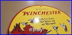 Vintage Winchester Porcelain Shot Gun Shells & Ammo Advertising Gas Service Sign
