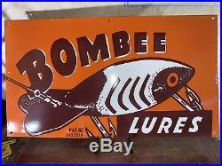 Vintage''bombee Lures'' 32 Inch Porcelain Sign