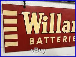 Vintage hanging WILLARD BATTERIES Double Sided Sign with Bracket (not porcelain)