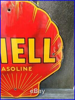 Vintage (not a repop) Shell Gasoline Porcelain Pump Plate Sign Rare Petroliana