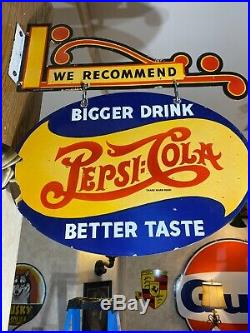 Vintage''pepsi-cola'' Ds 17''x24'' Porcelain Sign With A Porcelain Bracket Nice