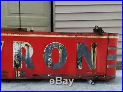 Vtg Art Deco Antique Chevron Cafe Gas & Oil Service Station Porcelain Neon Sign