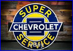 WOW! Original 60 Chevrolet Service Porcelain Gas Oil Dealership Sign
