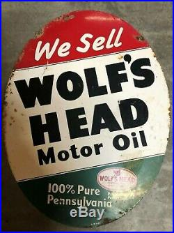 Wolf's Head Double Sided Vintage Porcelain Oil Sign Circle Pennsylvania